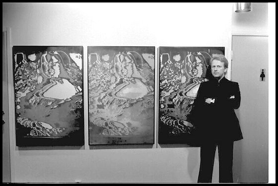 The original electronic painting from 1967 Monument, as public art work at Workers Union Enterence hall, Sundsvall 1977. Perspex/Acrylic. 5 panels total. Ture Sjolander in front. Below handpainted reproductions by SvenInge deMoner from later dates.