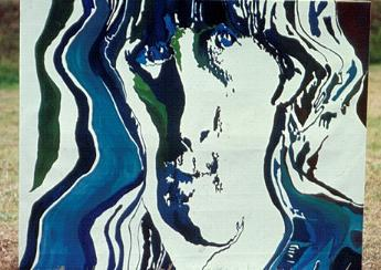 "Painting from Monument by Sven Inge De Moner 1968. ""Lennon"" Approx: 170x190 cm Acrylic on canvas."
